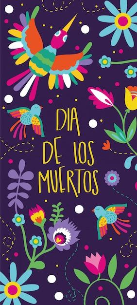 Carta dia de muertos con scritte e decorazioni floreali di uccelli Vettore gratuito