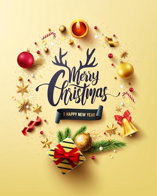Carta dorata di buon natale e felice anno nuovo Vettore Premium
