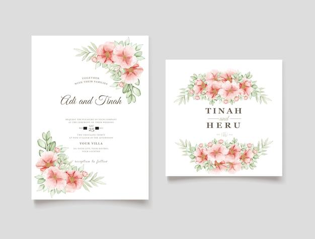 Carta elegante dell'invito di nozze dei fiori della rosa canina dell'acquerello Vettore gratuito