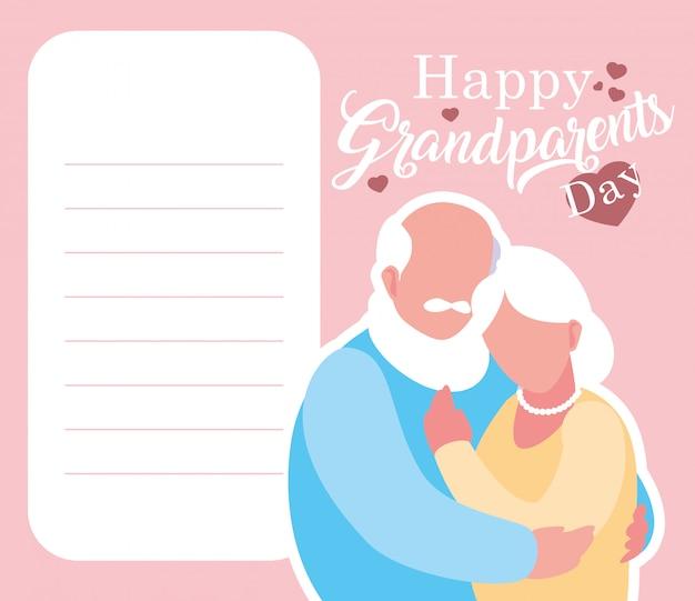 Carta felice di giorno dei nonni con le vecchie coppie abbracciate Vettore Premium