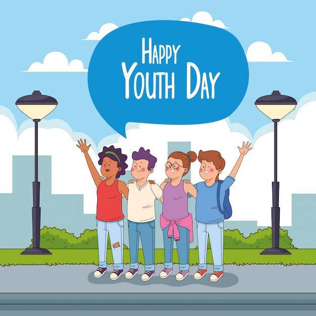 Carta felice giorno della gioventù con cartoni animati adolescenti Vettore gratuito