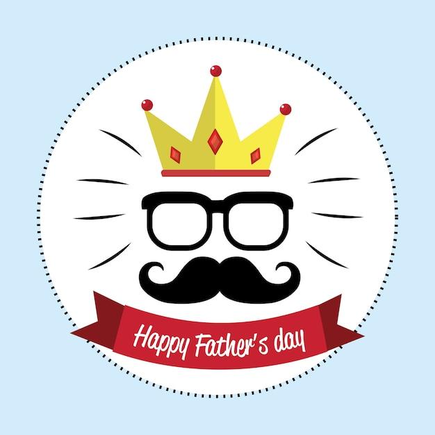 Carta felice giorno padre con i baffi Vettore Premium