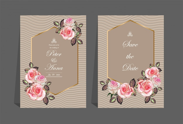 Carta floreale per nozze di invito e biglietti di auguri Vettore Premium
