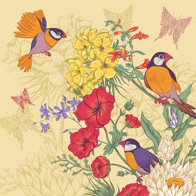 Carta floreale vintage con rose e fiori selvatici Vettore Premium