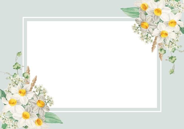 Carta incorniciata di fiori di pasqua Vettore gratuito