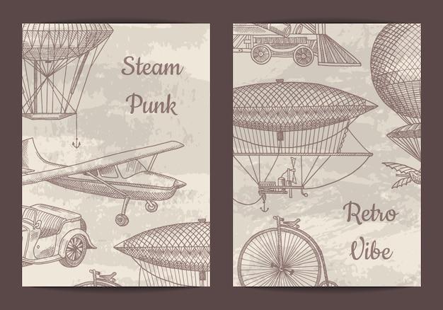 Carta, modello di volantino per festa a tema steampunk o negozio con dirigibili disegnati a mano, aria baloons e illustrazione di auto d'epoca Vettore Premium