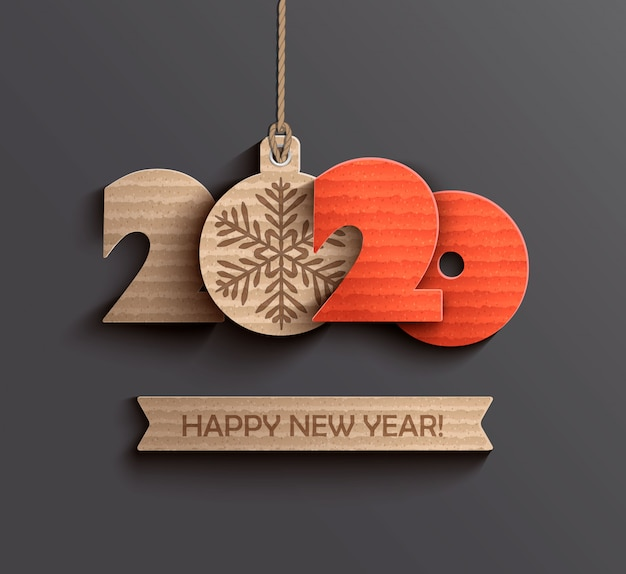 Carta moderna happy new year 2020 Vettore Premium