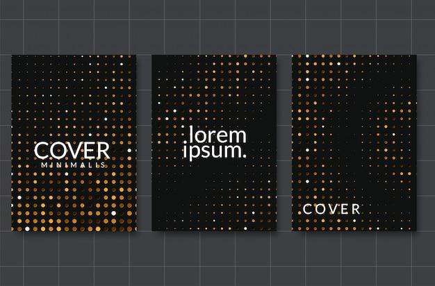 Carta nera taglia lo sfondo. decorazione a papercut a strati realistica astratta strutturata con il modello di semitono dorato Vettore Premium
