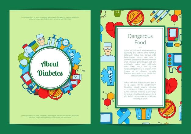 Carta o aletta di filatoio colorata delle icone del diabete Vettore Premium