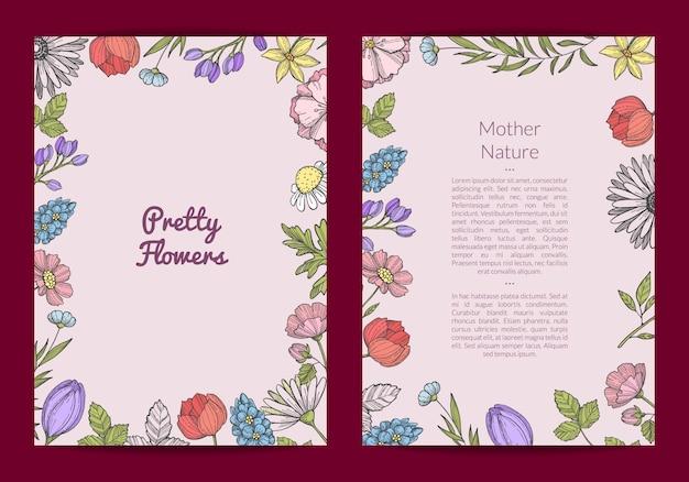 Carta o volantino di fiori disegnati a mano Vettore Premium