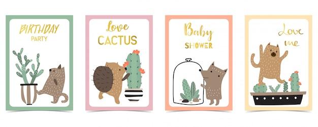 Carta pastello con porcospino, cactus Vettore Premium