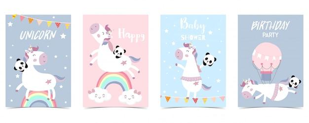 Carta pastello con unicorno, arcobaleno Vettore Premium