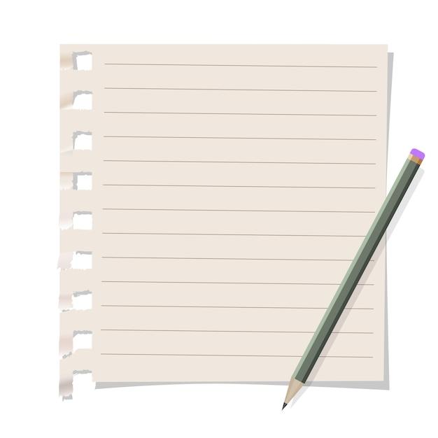 Carta per appunti con matita Vettore Premium