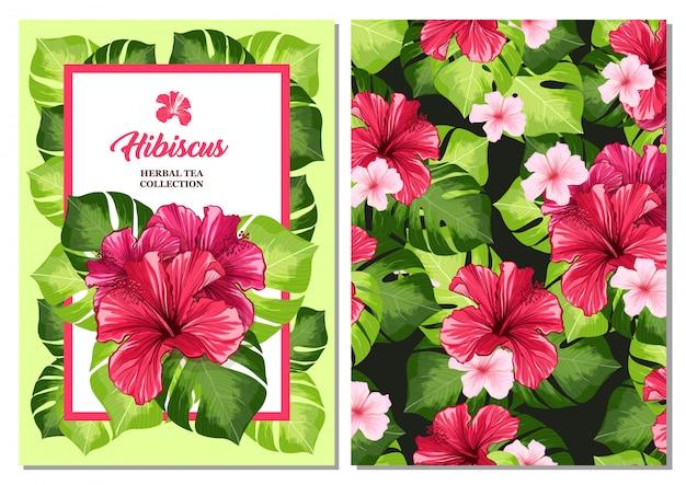Carta per volantini o volantini per tè con fiore di fragranza rosso ibisco hawaiano. Vettore gratuito