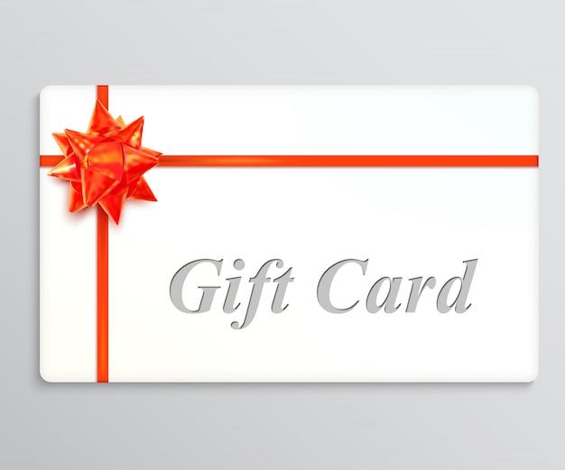 Carta regalo bianca con un fiocco rosso e nastri. elemento di design illustrazione vettoriale Vettore Premium