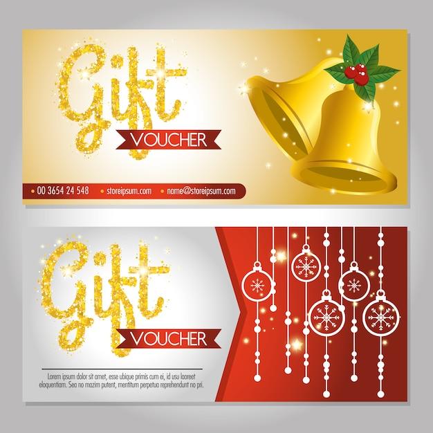 Carta regalo buono regalo di natale Vettore Premium