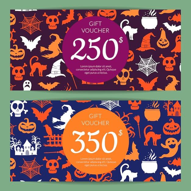 Carta regalo di halloween o modelli di voucher con streghe, zucche, fantasmi, sagome ragno con posto per il testo Vettore Premium