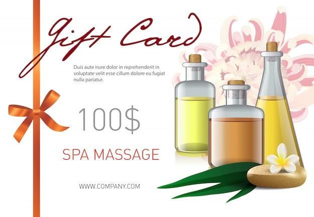Carta regalo, lettering massaggio spa e bottiglie con olio. buono regalo salone spa Vettore gratuito