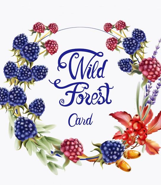 Carta selvaggia del mazzo della corona dei frutti della foresta Vettore Premium