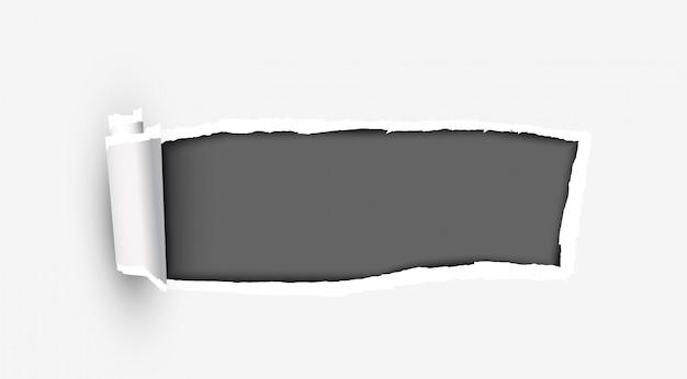 Carta strappata bianca con bordi strappati Vettore Premium