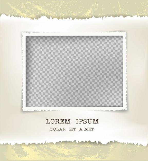 Carta strappata e foto di cornice Vettore Premium
