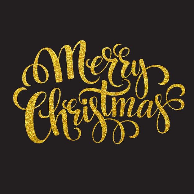 Carta tipografia disegnata a mano buon natale auguri oro glitter scritte a mano, cartolina d'auguri. Vettore Premium