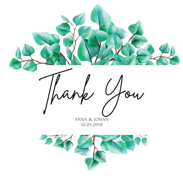 Carta verde dell'invito di nozze della foglia dell'eucalyptus della pianta. Vettore Premium
