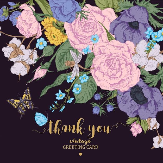 Carta vettoriale floreale vintage con rose, anemoni e farfalle Vettore Premium