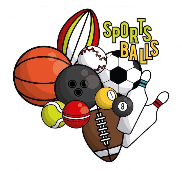 Carta vibrante di attrezzature sportive palle Vettore Premium