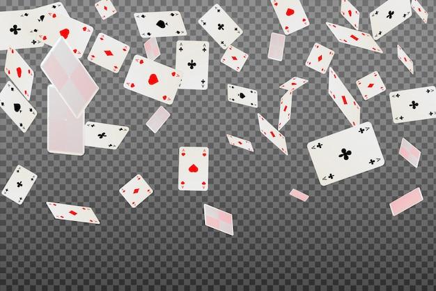 Carte da gioco che cadono su sfondo trasparente. Vettore Premium