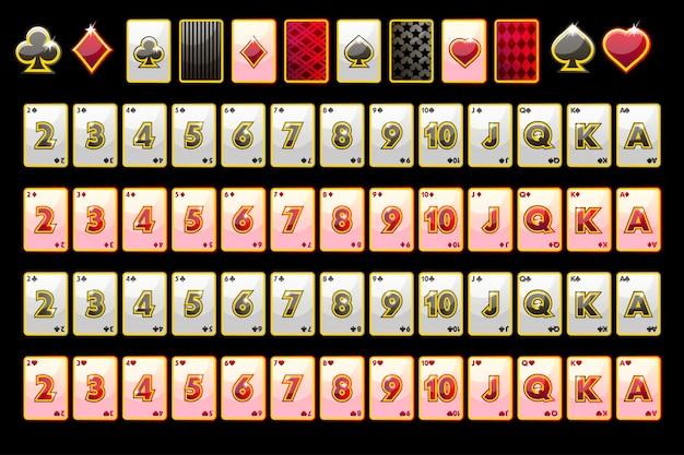 Carte da gioco del poker, mazzo completo e simboli delle carte per le slot machine e una lotteria. Vettore Premium