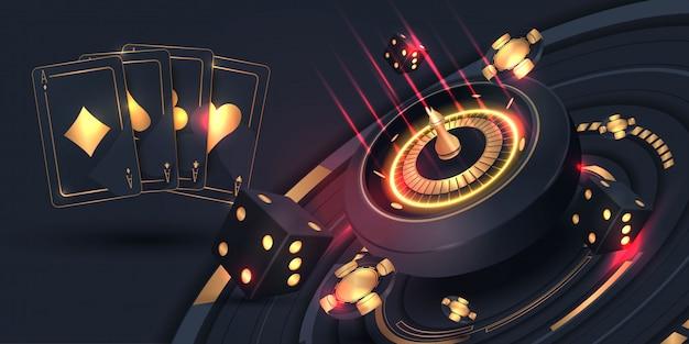 Carte da poker del casinò e banner ruota della roulette Vettore Premium