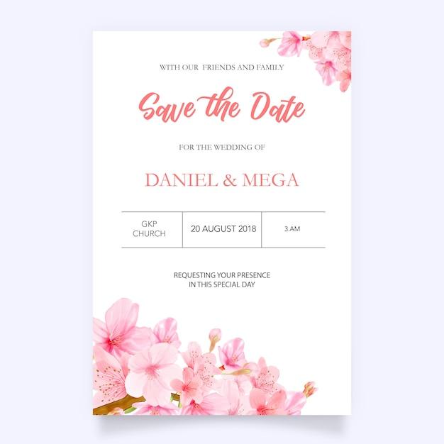Carte del fondo del fiore di ciliegia con i fiori disegnati a mano Vettore Premium
