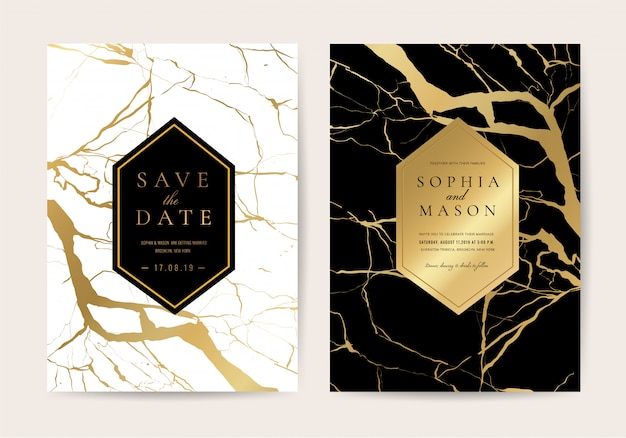 Carte dell'invito di nozze con struttura di marmo Vettore Premium