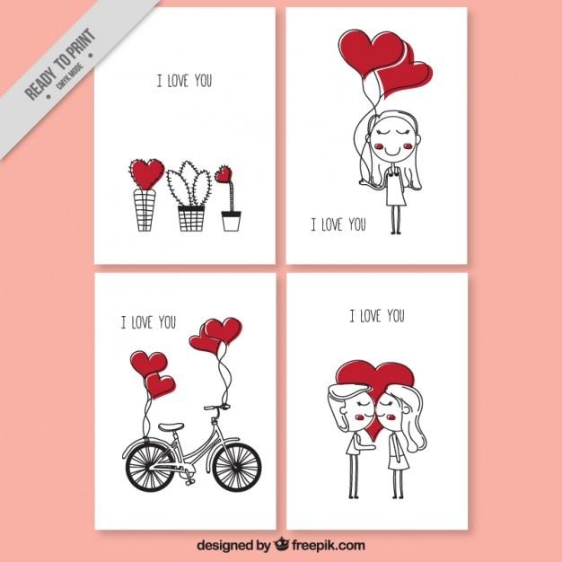 Carte di amore con disegni simpatici con i cuori Vettore Premium
