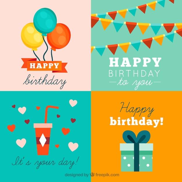 Carte Di Buon Compleanno Collezione Scaricare Vettori Gratis