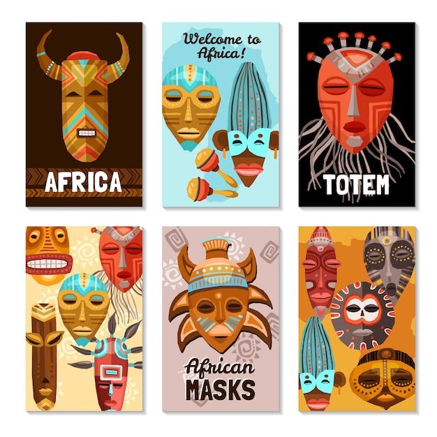 Carte di maschere tribali etnici africani Vettore gratuito
