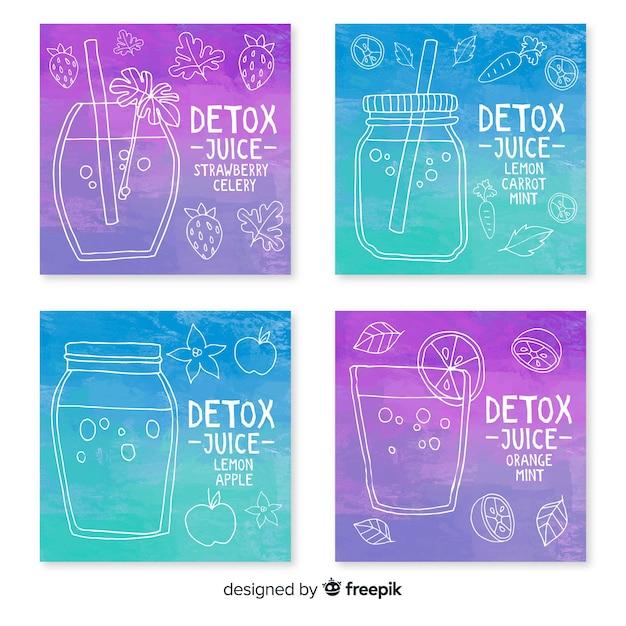 Carte di succo di frutta acquerello detox Vettore gratuito