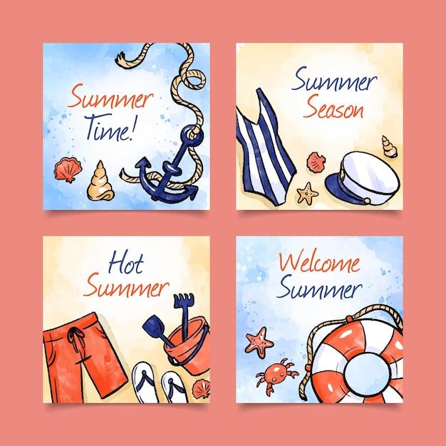 Carte estive ad acquerello Vettore gratuito