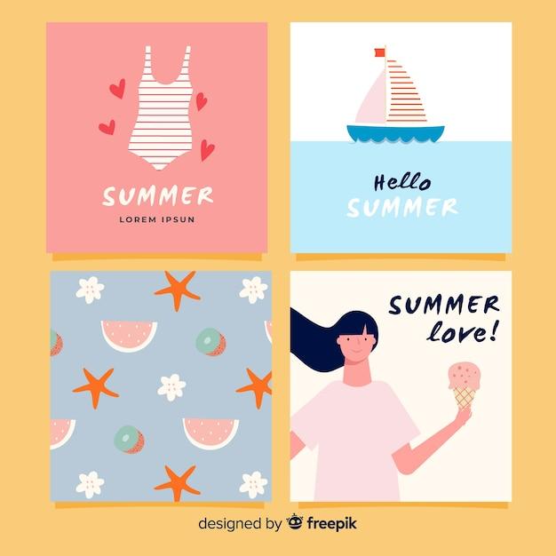 Carte estive creative Vettore gratuito