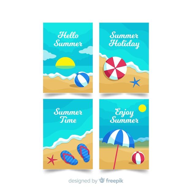 Carte estive piatte Vettore gratuito