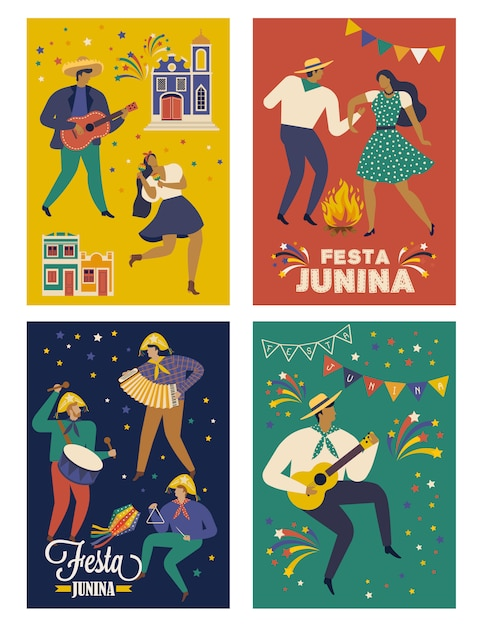 Carte festa junina brasile giugno festival Vettore Premium