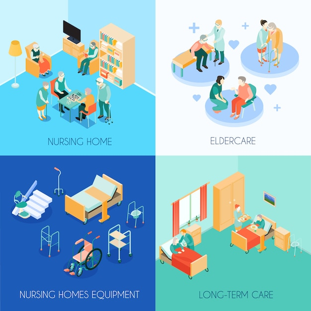 Carte isometriche di concetto di cura di professione d'infermiera Vettore gratuito