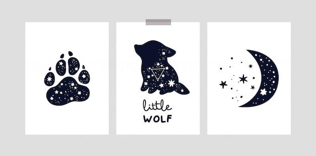 Carte o poster infantili con simpatico lupo, luna e stelle per bambina o ragazzo. resta bambina luna selvaggia Vettore Premium