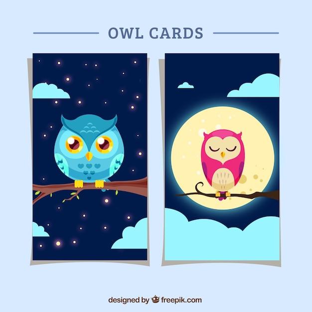 Carte owl in design piatto Vettore gratuito