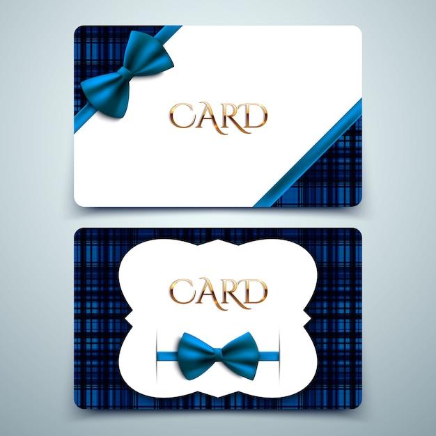 Carte regalo vettoriali, stampa tartan blu e fiocco decorativo Vettore Premium