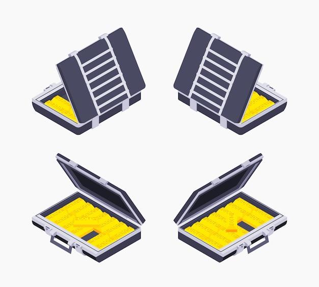 Cartella aperta isometrica con le barre dorate Vettore Premium