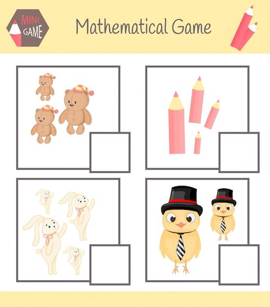 Cartella di lavoro sulla matematica per l'educazione prescolare. puzzle per bambini. impara a contare. risolvi esempi Vettore Premium