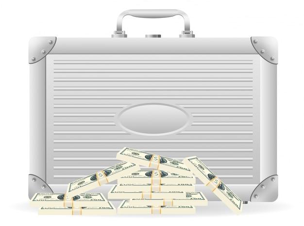 Cartella metallica con dollari confezionati. Vettore Premium