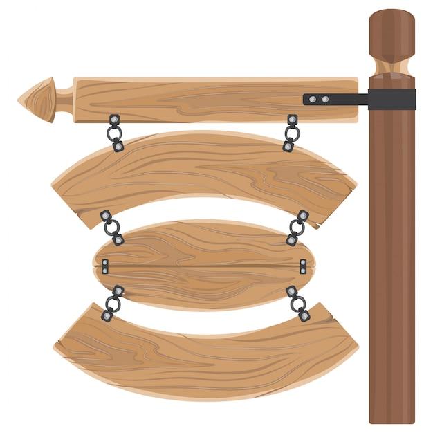 Cartelli in legno appesi fissati al bastone lungo Vettore Premium